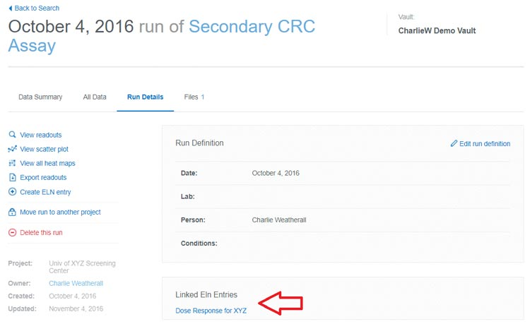 A link to your CDD Vault Object will appear in the ELN entry, and a link to the ELN entry will appear in the Batches tab for the Vault Object within Activity & Registration