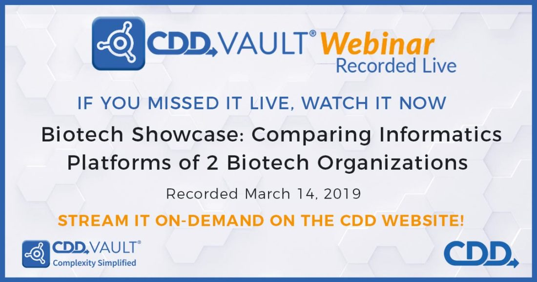 Joint CDD & Pew Trusts Webinar: Biotech Showcase Comparing Informatics Platforms