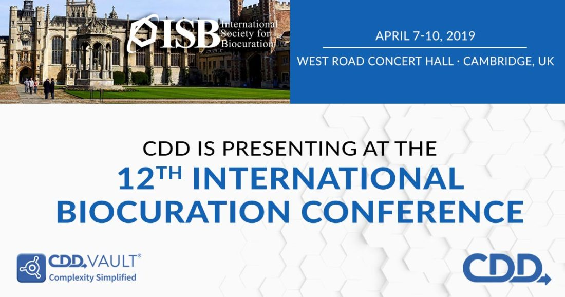 ISB 12th International Biocuration Conference. Cambridge University April 7 - 10 2019