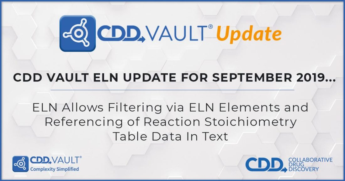 CDD Vault Update (Sept 2019): ELN Allows Filtering via ELN Elements and Referencing of Reaction Stoichiometry Table Data In Text